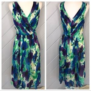{Anne Klein} Floral Faux Wrap V-Neck Dress Pleated
